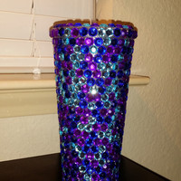 Peacock BLING Tumbler - Purple/Blue/Aqua