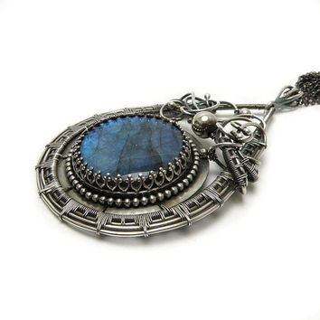 Silver wire wrapped pendant  blue labradorite  by MadeBySunflower
