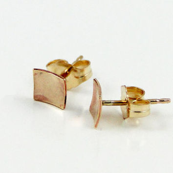14K Gold Filled Stud Earrings - Petite Domed Square Earrings with 14K GF Earring Post - Everyday Wearable Jewelry