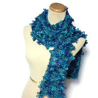 Knit Scarf, Hand Knit Scarf, Blue Scarf, Turquoise Scarf, Fashion Scarf, Jewel Tone, Womens Scarf, Fiber Art, Knitted Scarf