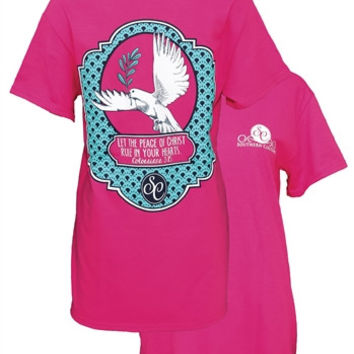 Southern Couture Peace of Christ Rule Your Heart Dove Christian Girlie Bright T Shirt