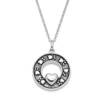 Antiqued Sterling Silver Paw Prints Circle Ash Holder Necklace, 18in