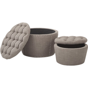 Lacey Tufted Storage Ottoman Set, Milford Dolphin Fabric (2pc Set)