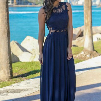 Navy Lace Top Maxi Dress with Tulle Back