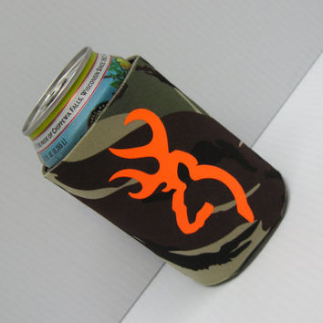 Browning Deer Orange and Camo Koozie