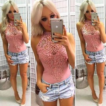 Women Solid Color Hollow Lace Stitching Stripe Sleeveless Romper Jumpsuit Bodysuit