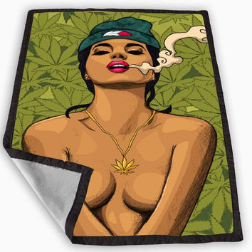 Girl Smoking Weed Art - Marley Blunt Sexy Blanket for Kids Blanket, Fleece Blanket Cute and Awesome Blanket for your bedding, Blanket fleece *