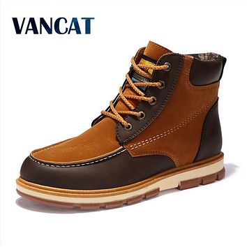 VANCAT Brand Newest Men Winter Boots High Quality Leather Wear Resisting Casual Shoes Working Fahsion Men Boots Plus Size 39~46