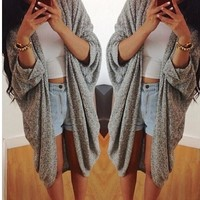 Bat sleeve knit cardigan - Grey/Blue/Black/Khaki
