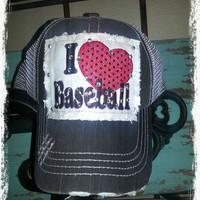 Personalized Custom Baseball Team Distressed Mesh Trucker Blingy Hat