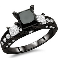 Black Wedding Ring Princess Cut size 5-11