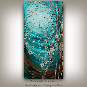 Huge Art ORIGINAL ABSTRACT PAINTINGS Oil Birch Tree Art sale Floral Abstract art Turquoise Blue Flower Textured fine art - Nandita Albright