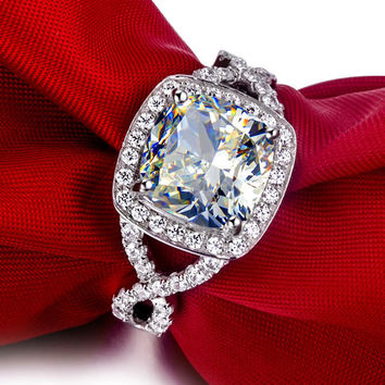 3 carat cushion cut  simulated diamond halo engagement rings for women jewelry,gold plated Wedding ring