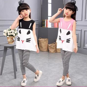 3 4 5 6 7 8 9 10 Year Children Clothing Cartoon Vest Stripe Legging 2pcs Girls Suits Cotton Summer Kids Clothes for Girls