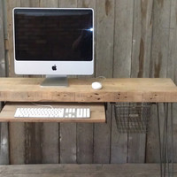 "Small wood desk with mid century hairpin legs, 32"" x 11.5"" w x 29.5"" tall, 1.65"" top keyboard tray. No Locker Basket"