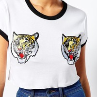 The Ragged Priest Fitted Cropped Ringer T-Shirt With Tiger Patches at asos.com