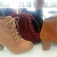 Women's Ankle High Heels Short Classic Booties Faux Suede fashion Boot Shoes