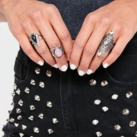 Missguided - Silver Chunky 3 Rings Pack