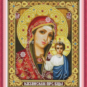 14CT unprinted,11CT Print on canvas Cross Stitch paintings jesus Needlework,Holy mother & holy son,full to embroidery Home Decor