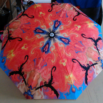 Art Umbrella Abstract Landscape Dragons Fire Mythical Animal Red Blue Silhouette