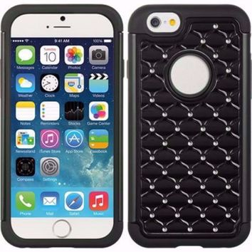 Apple iPhone 6s Plus Case / 6 Plus Case Crystal Rhinestone Slim Hybrid Dual Layer Case - Black