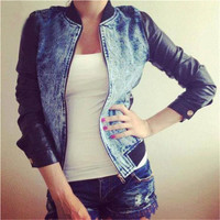 Blue Denim PU Leather Sleeve Jacket