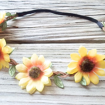 Floral Sunflower Daisy Flower Crown Floral head wrap Floral Crown Hippie headband Festival Crown Boho Flower crown with elastic backing