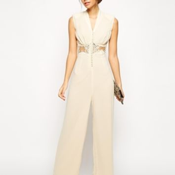 Jarlo Petite V Neck Lace Insert Jumpsuit - Cream