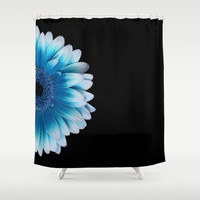colored summer ~ blue and black gerbera  Shower Curtain by Steffi ~ findsFUNDSTUECKE