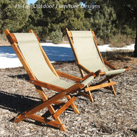 Alder Wood Folding Sling Chair With Carrying Handle - Set of 2 - in Sea Haze Green Outdoor Fabric O'Scanlinn Camp Chair Handmade in USA