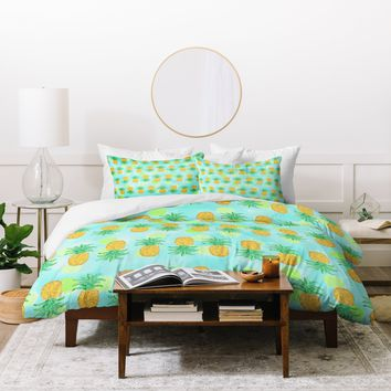 Lisa Argyropoulos Pineapples And Polka Dots Duvet Cover