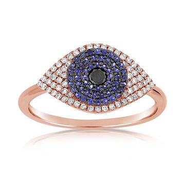 Diamond and Sapphire Evil Eye Ring