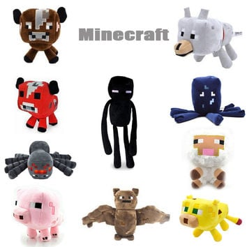 Minecraft Plush Toys Enderman Ocelot Pig Sheep Bat Mooshroom Squid Spider Wolf soft stuffed dolls