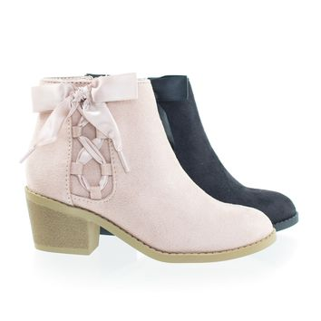 Coco2 Dusty Mauve by Soda, Children Girl's Block Heel Ankle Bootie w Corset Lace Bow
