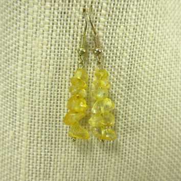 Citrine Bead Earrings, Yellow Gemstone Earrings