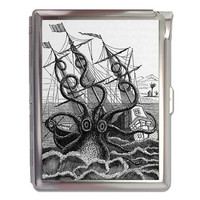 Octopus Attacking a Ship Cigarette Case Lighter Wallet Business Card Holder
