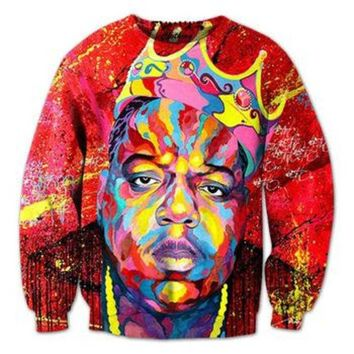 New men/women's notorious b.i.g 3D pullover hoodie print oil painting Biggie smalls sweatshirt crewneck casual hip-hop clothing