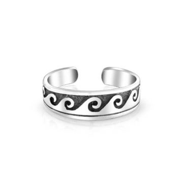 Nautical Waves Midi Thin Band Toe Ring Oxidized 925 Silver Sterling