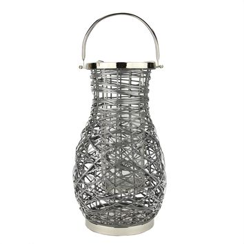 "18.5"" Modern Gray Decorative Woven Iron Pillar Candle Lantern with Glass Hurricane"