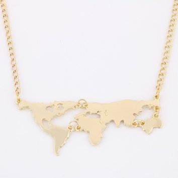 Gold Color World Map Pendant Necklace For Women Jewelry
