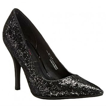 black glitter pumps with stiletto heel