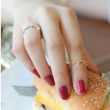 R249 Korean Korean version of the super cute little fresh Micro Pave Rings Crown finger joints