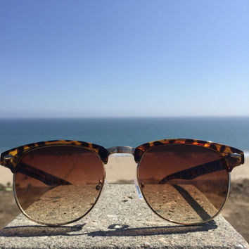 Retro Leopard Print Wayfarer Vintage Fashion Sunglasses 80's 90's Classy Shades Brown