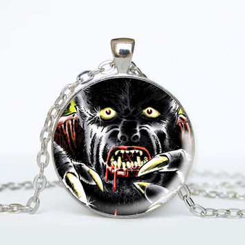 Horror Comic Book Necklace - Werewolf - Geeky Jewelry