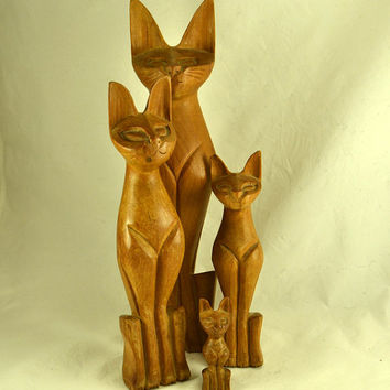 Wood Cat Figurines - Mid Century Grouping of 4 Siamese Cat Statues Carved Wood