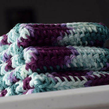Crochet Dishcloths/ Washcloths Set of 3 in Purple and Blue - Cotton Dish Rags or Wash Cloths for Kitchen or Bathroom