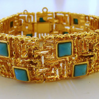 Gold and Turquoise Vintage Bracelet by GrayTabbyCat on Etsy