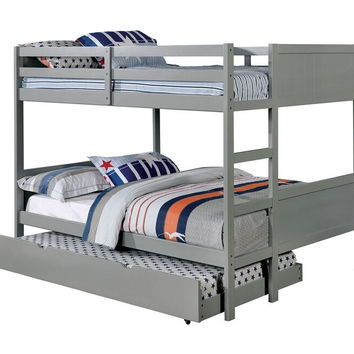 Annette collection gray finish wood full over full paneled headboards bunk bed set