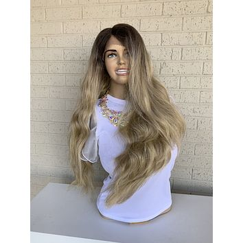 """Ash Blonde Balayage Hair Wig with Brown Ombré Roots 419   Erinn 26"""""""