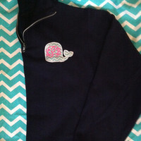 Whale Applique Monogrammed Quarter Zip Sweatshirt